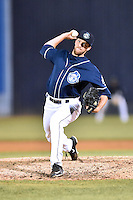 Asheville Tourists pitcher Drasen Johnson (29) delivers a pitch during a game against the Kannapolis Intimidators at McCormick Field on May 19, 2016 in Asheville, North Carolina. The Intimidators defeated the Tourists 10-7. (Tony Farlow/Four Seam Images)