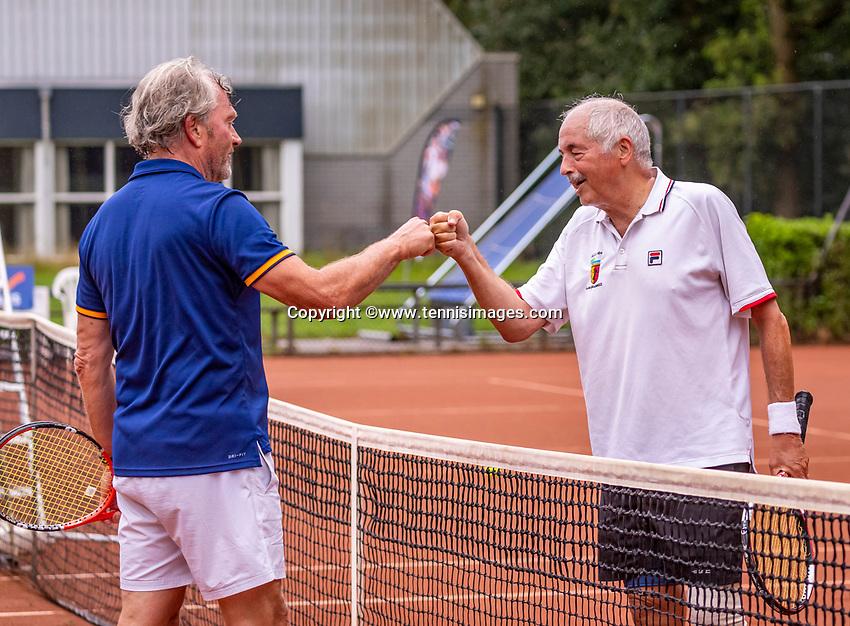 Hilversum, The Netherlands,  August 17, 2021,  Tulip Tennis Center, NKS, National Senior Tennis Championships, Men's 65+   Frans de Haan (NED) (R) and  Bart van Iperen (NED) <br /> Photo: Tennisimages/Henk Koster