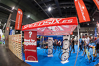 VALENCIA, SPAIN - NOVEMBER 7: Speedsix stand during DOS RODES at Feria Valencia on November 7, 2015 in Valencia, Spain