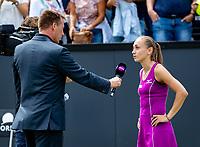 Den Bosch, Netherlands, 16 June, 2018, Tennis, Libema Open, Aleksandra Krunic (SRB) is being interviiewd by Edward van Cuilenborg<br /> Photo: Henk Koster/tennisimages.com