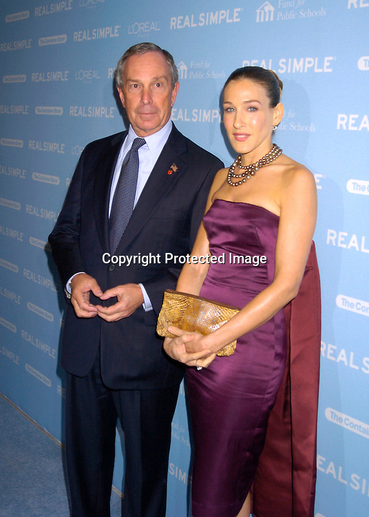 """Mayor Michael Bloomberg and Sarah Jessica Parker ..at The Real simple Magazine's Get Organized New York"""" ..Benefit Dinner on October 13, 2004 at Jazz at Lincoln Center . This event benefits The Fund for Public Schools...Photo by Robin Platzer, Twin Images"""