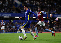 22nd September 2021; Stamford Bridge, Chelsea, London, England; EFL Cup football, Chelsea versus Aston Villa; Ben Chilwell of Chelsea being chased by Bertrand Traore of Aston Villa