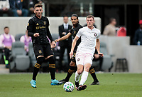 LOS ANGELES, CA - MARCH 01: Matias Pellegrini #11 of Inter Miami CF passes off a ball during a game between Inter Miami CF and Los Angeles FC at Banc of California Stadium on March 01, 2020 in Los Angeles, California.