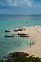 Longtail boats on Ko Lipe Sunrise beach, Thailand