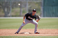 Miami Marlins Matt Brooks (33) waits to receive a throw during a minor league Spring Training game against the New York Mets on March 26, 2017 at the Roger Dean Stadium Complex in Jupiter, Florida.  (Mike Janes/Four Seam Images)