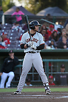 Jonah Arenado (7) of the San Jose Giants bats against the Inland Empire 66ers at San Manuel Stadium on April 8, 2017 in San Bernardino, California. (Larry Goren/Four Seam Images)