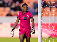 HOUSTON, TX - JANUARY 31: Kerly Theus #12 of Haiti reacts to a play during a game between Haiti and Costa Rica at BBVA Stadium on January 31, 2020 in Houston, Texas.