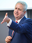 © Joel Goodman - 07973 332324 . 21/07/2016 . Manchester , UK . IVAN LEWIS . Hustings for the Mayoralty of Greater Manchester , at the Renold Building of the University of Manchester . Labour candidates Andy Burnham ( MP for Leigh ) , Tony Lloyd ( current interim Mayor ) and  Ivan Lewis ( MP for Bury South ) debate their relative candidacies . Photo credit : Joel Goodman