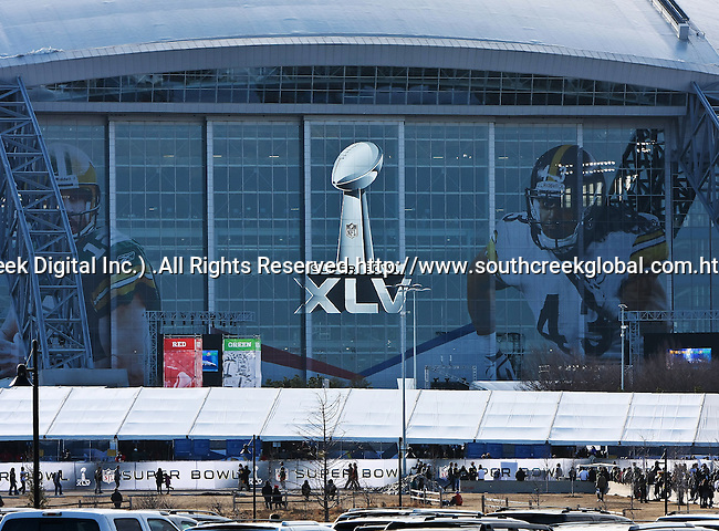 The Dallas Cowboys Stadium, host for Super Bowl XLV, which features the Pittsburg Steelers vs. the Green Bay Packers, shines in all its glory before the big game.