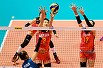Fangxu Yang (C) and Ni Yan of China (R) blocks Agostina Denisse Soria of Argentina (L) during the FIVB Volleyball Nations League Hong Kong match between China and Argentina on May 29, 2018 in Hong Kong, Hong Kong. Photo by Marcio Rodrigo Machado / Power Sport Images