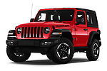 Stock pictures of low aggressive front three quarter view of 2019 JEEP Wrangler Rubicon 5 Door SUV Low Aggressive