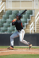 Robbie Thorburn (17) of the Delmarva Shorebirds follows through on his swing against the Kannapolis Intimidators at Kannapolis Intimidators Stadium on May 19, 2019 in Kannapolis, North Carolina. The Shorebirds defeated the Intimidators 9-3. (Brian Westerholt/Four Seam Images)