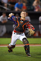 Aberdeen Ironbirds catcher Chris Shaw (58) throws to first during a game against the Tri-City ValleyCats on August 6, 2015 at Ripken Stadium in Aberdeen, Maryland.  Tri-City defeated Aberdeen 5-0 in a combined no-hitter.  (Mike Janes/Four Seam Images)
