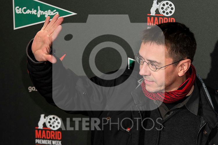 "Juan Carlos Monedero attends to the premiere of the spanish movie ""La Novia"" at Callao City Lights in Madrid, December 01, 2015<br /> (ALTERPHOTOS/BorjaB.Hojas)"