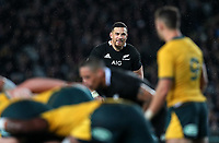 Sonny Bill Williams waits for a scrum to be fed during the Bledisloe Cup rugby match between the New Zealand All Blacks and Australia Wallabies at Eden Park in Auckland, New Zealand on Saturday, 17 August 2019. Photo: Simon Watts / lintottphoto.co.nz