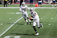 27th September 2020, Foxborough, New England, USA;  Las Vegas Raiders quarterback Derek Carr (4) takes off on a keeper during the game between the New England Patriots and the Las Vegas Raiders