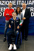 Manuel Bortuzzo with his parents, Franco and Rossella and the president of FIN Paolo Barelli<br /> Rome March 13th 2019. Manuel Bortuzzo, promising swimmer who was shot in front of a nightclub, returns to his swimming pool at Ostia Federal Swimming Centre. The 19 years old guy was shot by mistake in front of a nightclub last February 2nd and is paralysed from the waist down since then. <br /> Foto Samantha Zucchi Deepbluemedia/ Insidefoto