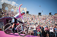 Maglia Bianca / best young rider Miguel Angel Lopez (COL/Astana) entering the Verona amphitheater after finishing the closing iTT<br /> <br /> Stage 21 (ITT): Verona to Verona (17km)<br /> 102nd Giro d'Italia 2019<br /> <br /> ©kramon