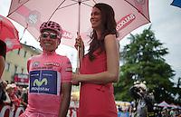 Nairo Quintana (COL/Movistar) at the start<br /> <br /> 2014 Giro d'Italia<br /> stage 18: Belluno - Rifugio Panarotta (Valsugana), 171km