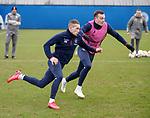 19.02.2020 Rangers training: Ryan Kent and George Edmundson