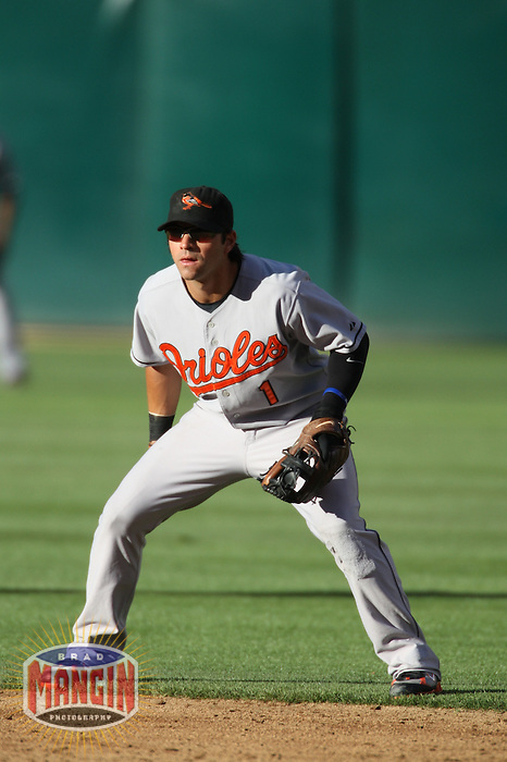 OAKLAND, CA - July 21:  Brian Roberts of the Baltimore Orioles plays defense at second base during the game against the Oakland Athletics at the McAfee Coliseum in Oakland, California on July 21, 2007.  The Athletics defeated the Orioles 4-3.  Photo by Brad Mangin