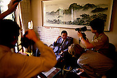 """Seoul, South Korea<br /> June 24, 1987<br /> <br /> Kim Dea-jong, at home with a calender marking his days under house arrest as opposition leader to the ruling party. The press interviews him upon his release.<br /> <br /> Kim Dae-jung (3 December 1925 to 18 August 2009) was President of South Korea from 1998 to 2003, and the 2000 Nobel Peace Prize recipient. As of this date Kim is the first and only Nobel laureate to hail from Korea. A Roman Catholic since 1957, he has been called the """"Nelson Mandela of Asia"""" for his long-standing opposition to authoritarian rule."""