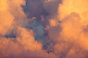 Detail of Cumulonimbus cloud at sunset. Nordtirol, Austrian Alps. July.