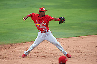 Palm Beach Cardinals shortstop Robelys Reyes (15) throws to first during the first game of a doubleheader against the Dunedin Blue Jays on July 31, 2015 at Florida Auto Exchange Stadium in Dunedin, Florida.  Dunedin defeated Palm Beach 7-0.  (Mike Janes/Four Seam Images)