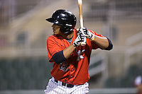 Cleuluis Rondon (16) of the Kannapolis Intimidators at bat against the Hagerstown Suns at Kannapolis Intimidators Stadium on May 4, 2016 in Kannapolis, North Carolina.  The Intimidators defeated the Suns 7-4.  (Brian Westerholt/Four Seam Images)