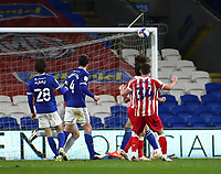 16th March 2021; Cardiff City Stadium, Cardiff, Glamorgan, Wales; English Football League Championship Football, Cardiff City versus Stoke City; Joe Allen of Stoke City heads the ball which hit the crossbar in the 91st minute