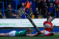 Jasmine Joyce of Wales celebrates scoring her sides fourth try during the Women's Six Nations match between Wales and Ireland at Cardiff Arms Park, Cardiff, Wales, UK. Sunday 17 March 2019