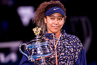 20th February 2021, Melbourne, Victoria, Australia; Naomi Osaka of Japan holds her trophy after winning the Women's Singles Final of the 2021 Australian Open on February 20 2021, at Melbourne Park in Melbourne, Australia.