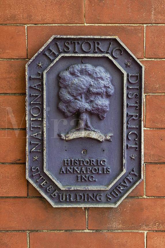 Historic house designation plaque, Annapolis, Maryland, USA