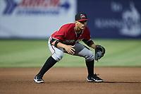 Carolina Mudcats third baseman Daniel Castillo (32) on defense against the Kannapolis Cannon Ballers at Atrium Health Ballpark on June 9, 2021 in Kannapolis, North Carolina. (Brian Westerholt/Four Seam Images)