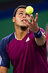 SHANGHAI, CHINA - OCTOBER 14:  Jo-Wilfried Tsonga of France serves to Florian Mayer of Germany during day four of the 2010 Shanghai Rolex Masters at the Shanghai Qi Zhong Tennis Center on October 14, 2010 in Shanghai, China.  (Photo by Victor Fraile/The Power of Sport Images) *** Local Caption *** Jo-Wilfried Tsonga
