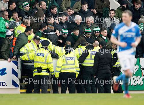 St Johnstone v Celtic…05.02.17     SPFL    McDiarmid Park<br />Police and stewards with Celtic fans<br />Picture by Graeme Hart.<br />Copyright Perthshire Picture Agency<br />Tel: 01738 623350  Mobile: 07990 594431