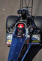 Feb. 18, 2012; Chandler, AZ, USA; NHRA top fuel dragster driver Doug Kalitta during qualifying for the Arizona Nationals at Firebird International Raceway. Mandatory Credit: Mark J. Rebilas-