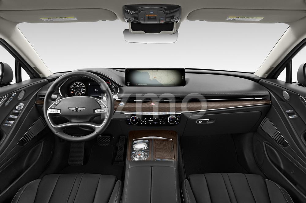 Stock photo of straight dashboard view of 2021 Genesis G80 - 4 Door Sedan Dashboard