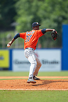Greeneville Astros starting pitcher Salvador Montano (37) in action against the Kingsport Mets at Hunter Wright Stadium on July 7, 2015 in Kingsport, Tennessee.  The Mets defeated the Astros 6-4. (Brian Westerholt/Four Seam Images)