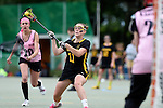 GER - Hannover, Germany, May 31: During the Women Lacrosse Playoffs 2015 match between KIT SC Karlsruhe (pink) and HTHC Hamburg (black) on May 31, 2015 at Deutscher Hockey-Club Hannover e.V. in Hannover, Germany. (Photo by Dirk Markgraf / www.265-images.com) *** Local caption *** Svea Knapp #11 of HTHC Hamburg