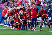 FRISCO, TX - MARCH 11: Emily Sonnett #14 of the United States and the rest of the bench celebrate during a game between Japan and USWNT at Toyota Stadium on March 11, 2020 in Frisco, Texas.