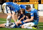 St Johnstone v Dundee….03.04.19   McDiarmid Park   SPFL<br />Callum Hendry celebrates his goal with Liam Craig, Joe Shaughnessy and Chris Kane<br />Picture by Graeme Hart. <br />Copyright Perthshire Picture Agency<br />Tel: 01738 623350  Mobile: 07990 594431