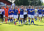 St Johnstone v Fleetwood Town…24.07.21  McDiarmid Park<br />Ali McCann holding the Scottish Cup and Liam Gordon holding the Betfred Cup lead their team mates on a lap of honour at McDiarmid Park showing the fans the two trophies<br />Picture by Graeme Hart.<br />Copyright Perthshire Picture Agency<br />Tel: 01738 623350  Mobile: 07990 594431