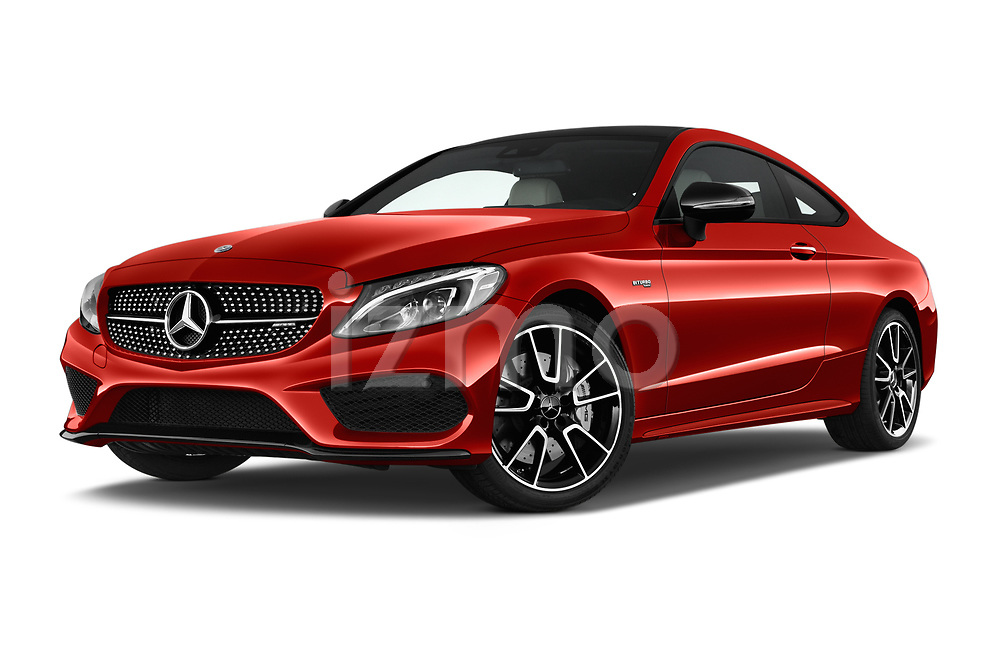 Stock pictures of low aggressive front three quarter view of 2018 Mercedes Benz C-Class AMG-C43 2 Door Coupe Low Aggressive