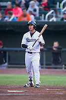Idaho Falls Chukars second baseman Kyle Kasser (9) at bat during a Pioneer League game against the Billings Mustangs at Melaleuca Field on August 22, 2018 in Idaho Falls, Idaho. The Idaho Falls Chukars defeated the Billings Mustangs by a score of 5-3. (Zachary Lucy/Four Seam Images)