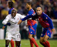 Jozy Altidore, Esteban Sirias. The USMNT tied Costa Rica, 2-2, during the FIFA World Cup Qualifier at  RFK Stadium, in Washington, DC.   With the result, the USMNT qualified for the 2010 FIFA World Cup Finals in South Africa.