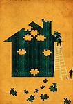 Men arranging jigsaw puzzle pieces to build a house
