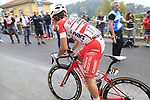 Andrea Vendrame (ITA) Androni Giocattoli-Sidermec climbs the Superga for the 1st ascent during the 99th edition of Milan-Turin 2018, running 200km from Magenta Milan to Superga Basilica Turin, Italy. 10th October 2018.<br /> Picture: Eoin Clarke | Cyclefile<br /> <br /> <br /> All photos usage must carry mandatory copyright credit (© Cyclefile | Eoin Clarke)