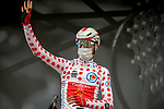 Polka Dot Jersey Anthony Perez (FRA) Cofidis at sign on before Stage 5 of Paris-Nice 2021, running 200km from Vienne to Bollene, France. 11th March 2021.<br /> Picture: ASO/Fabien Boukla   Cyclefile<br /> <br /> All photos usage must carry mandatory copyright credit (© Cyclefile   ASO/Fabien Boukla)