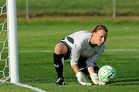 Goalkeeper Kristin Luckenbill (1) of the Boston Breakers makes a save. Sky Blue FC defeated the Boston Breakers 2-1 during a Women's Professional Soccer match at Yurcak Field in Piscataway, NJ, on May 31, 2009.